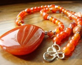 Tangerine Tango, Carnelian Gemstone and Swarovski Crystal  Necklace, Cinnamon - myshininglights