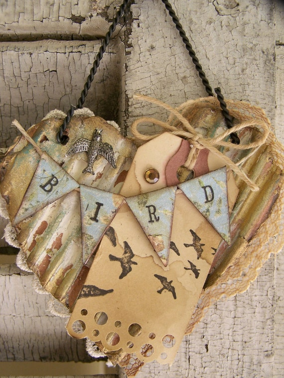 Vintage  Bird Altered Collage Vintage Mixed Media Cottage Style Heart Wall Hanging Antique Paper Heart