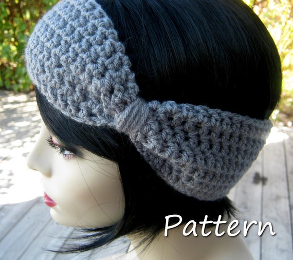 CROCHET PATTERN PDF - Instant Digital Download -  Flapper Style Bow Headand / Earwarmer / headwrap - Women - Teen Girls - Bow