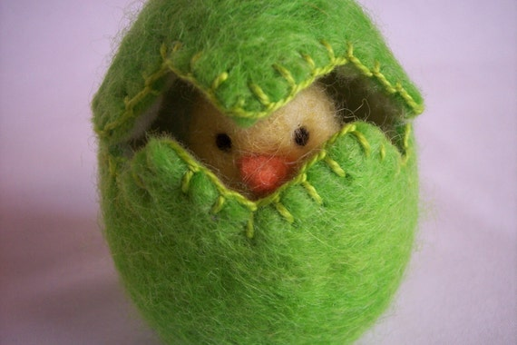 Easter Egg Wool Felted Egg with Chick  Spring Toy  shamrock waldorf natural toy