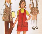 1970s Simplicity 8942 Vintage Sewing Pattern Girl's Skirt with Detachable Suspenders, Vest, and Pants Size 8 - midvalecottage