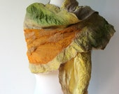 Nuno Felted Silk Scarf - Earth in Golden Beige - realfaery