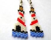 Lovely Seed beaded Lighthouse Delica Bead Dangle earrings - fantasybeader