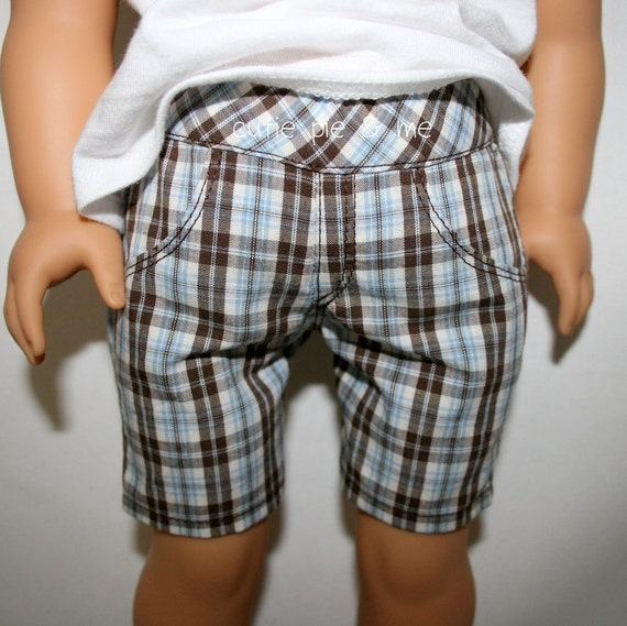 "Pretty rose trimmed tank and preppy plaid shorts for 18"" dolls such as American Girl"