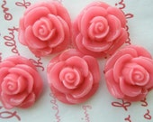 SALE ME--8 High Quality Round Rose cabochons 6pcs Salmon Pink - MimiLoLo