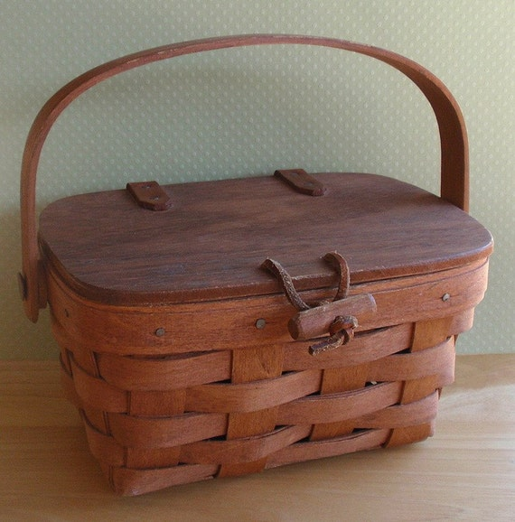 Vintage Longaberger Basket Kiddie Purse Miniature Collectible Handwoven Maple Hardwood