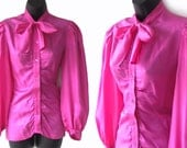 Vintage 70s 80s PINK Ruched Ascot Tie Silk BLOUSE XS S - heidihodge