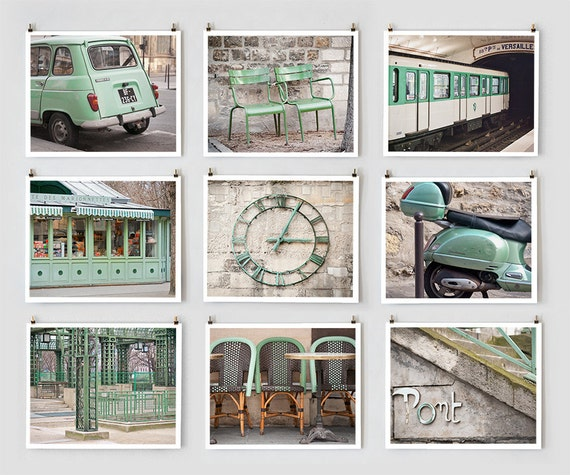 Paris Photography Collection, Green - French Art Prints -- Paris Art, Spring Green Wall Art