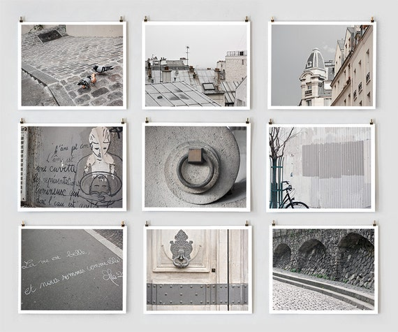 Paris Photography Collection, Gray - French Fine Art Photography Art Prints- Paris Decor - Large Wall Art - Urban Home Decor - Modern