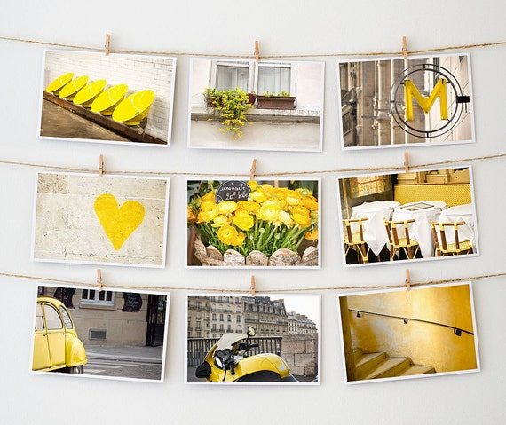 Paris Postcard Set, French Art Postcard, Yellow - 4x6 Art Prints, Paris Photography