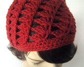 Slouchy Spiral Beanie - Lightweight Cotton - Rust Red - LoveFuzz