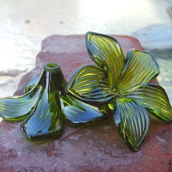large plastic flower , PLUMERIA - chunky olive green LUCITE flower focal 2 pcs