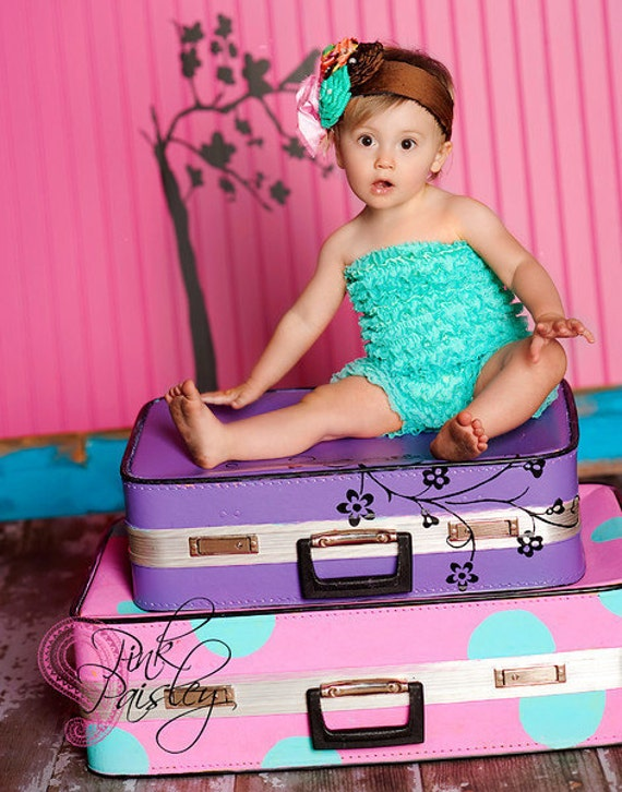 Pettiromper Petti Romper - Lace Ruffles - Caribbean Turquoise Green - You Pick Size 12 18 2t 3t 4 5 6 - Perfect for Portraits