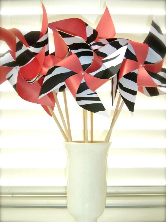 6 Large Twirlable Pinwheels ZEBRA