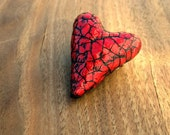 Paper Mache Pin: Handsculpted Red Heart Shaped Crackled Papier Mache Brooch, Paper Heart - studioRenee