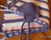 Name-your-colors braided blanket and hat set hand-crocheted for baby - IrishHooksAndYarn