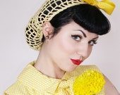 Vintage Retro Pinup Hair Snood in Buttercup Yellow Crocheted from  1940's Design