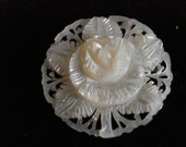 hand carved mother of pearl flower pin - eharbaug
