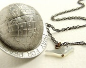 Vintage Globe Necklace, Earth and dove necklace, Peace Necklace, Vintage globe pendant, World Peace necklace