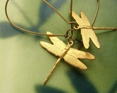 Gold dragonfly earrings, bronze golden small dragonfly long dangle earrings FREE SHIPPING SALE