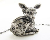 Deer Locket Necklace - bambi locket necklace, deer fawn locket in antique silver - perfume locket, FREE SHIPPING