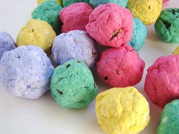 Recycled Paper Seed Bombs - Set of 50 Multi-Colored Bombs