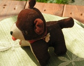 Vintage Corduroy Stuffed Teddy Bear Tape Measure Tongue Pincushion - cottageprims