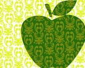 Damask design is all over an apple - 11X16 inches Fine Art Print