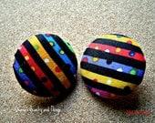 "Colorful Confetti Button Earrings 1 1/2"""