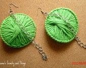 Lime Green Yarn Earrings