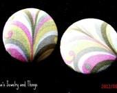 "Pink Swirl Fabric Button Earrings 1.5"""