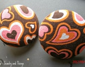 Hearts Fabric Button Earrings 1.5""