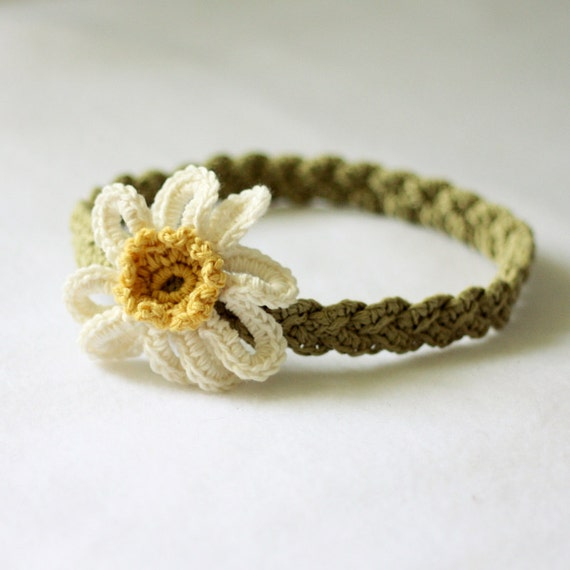 Instant downlaod - Crochet PATTERN (pdf file) - Daisy Braided Headband (sizes - baby to adult)
