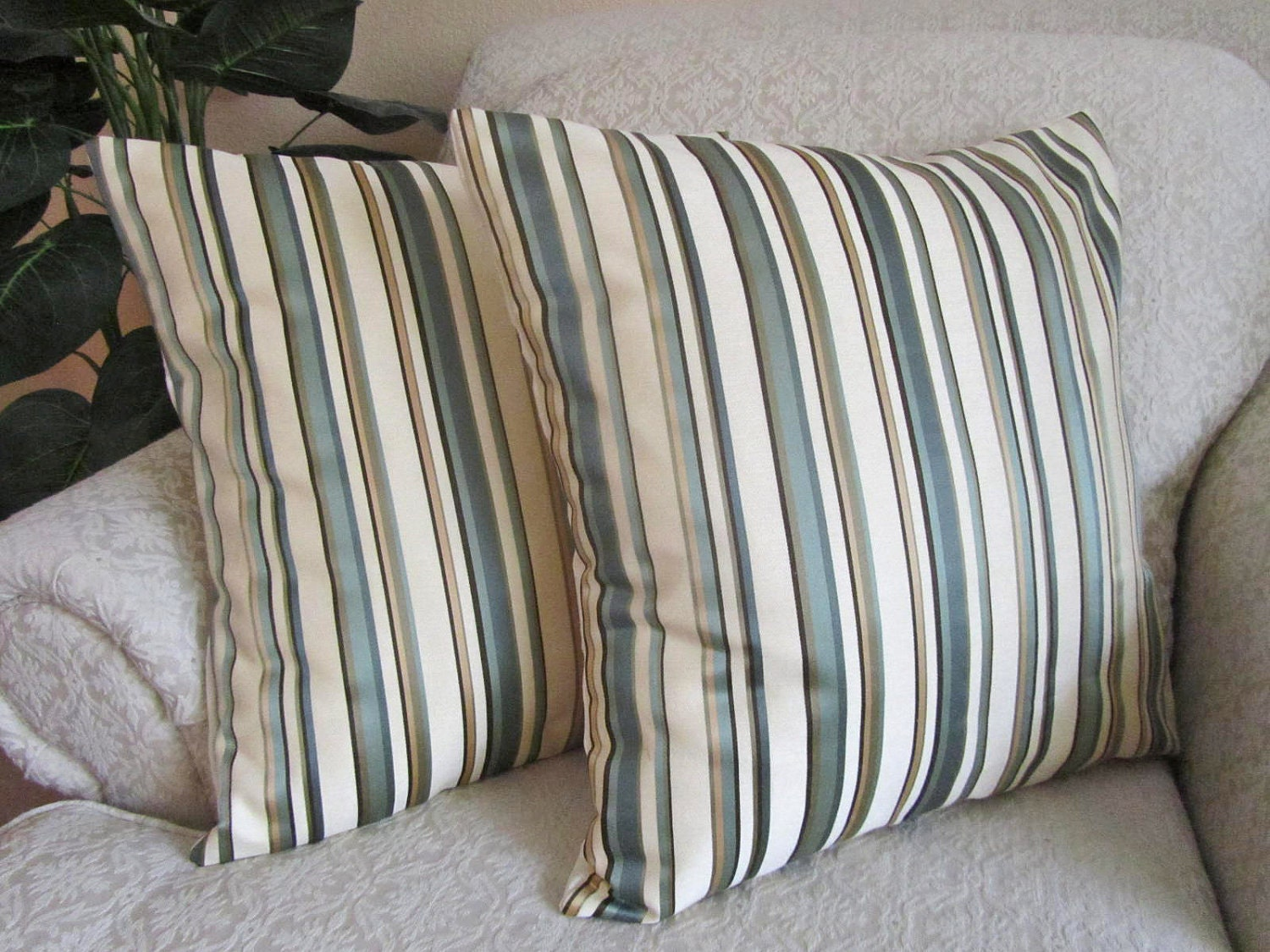 Decorative Throw Pillow Cover Green Striped by asmushomeinteriors