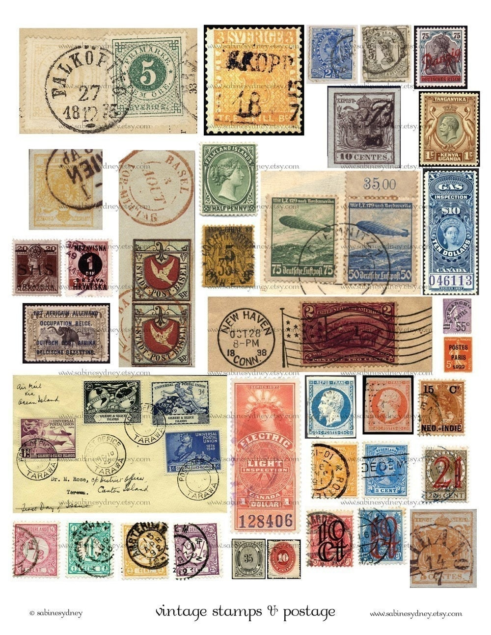 Space Postage Stamps - Printed Stamp Collection, Postal Stamp ...