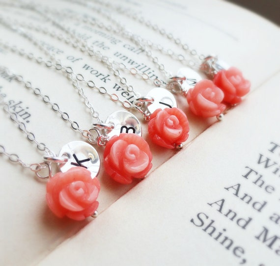 Bridesmaid gifts, Five Coral necklaces, pink rose necklaces with initials, silver initial necklace, Spring summer wedding, coral jewelry