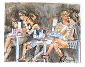 Spring Cafe Watercolor 8x10 Print of Painting, Cafe Scene, black brown peach by Gwen Meyerson