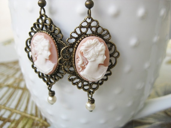 Pearl Cameo Earrings Pink Angel Skin
