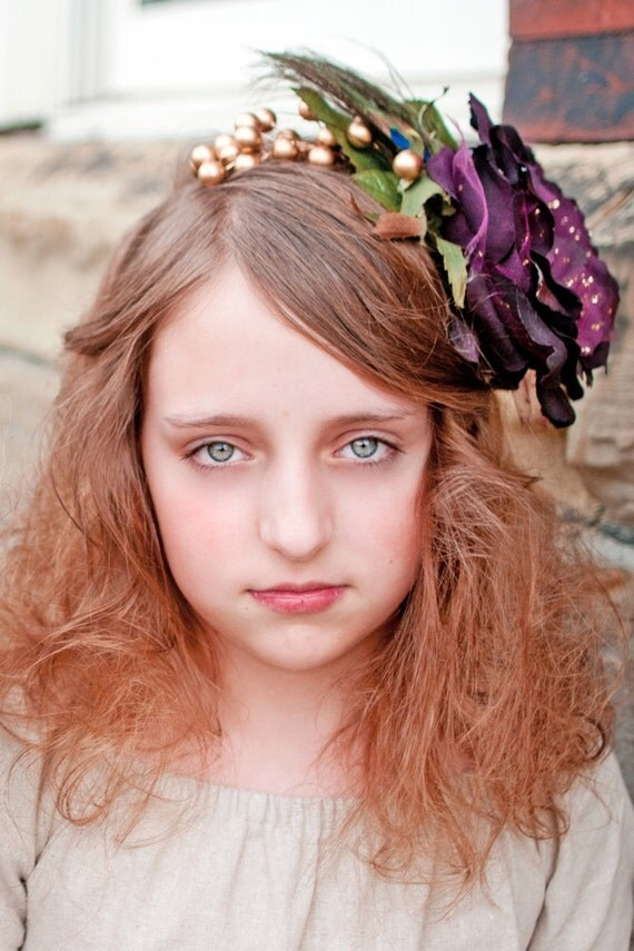ROYAL REQUEST Hairpiece -  headband for girls and women, vintage weddings,bridesmaids, photography, props. in deep plum purple