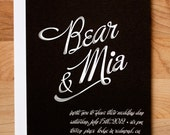 Wedding Invitation Set - Custom Chalkboard Card wedding invitation with Chalk