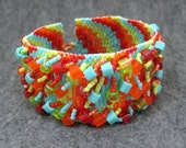 Beaded Cuff Bracelet - Climbing the Bargello Rainbow by randomcreative on Etsy - randomcreative