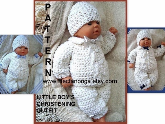 CROCHET PATTERN boy baby num 226, Double Breasted Boys Christening Outfit  newborn, 3 to 6 months, and 6 to 12 months. Pants, jacket and hat