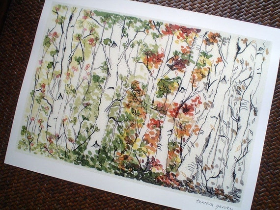 Art Giclee Illustration Print - Birch Forest - 8.5 x 11