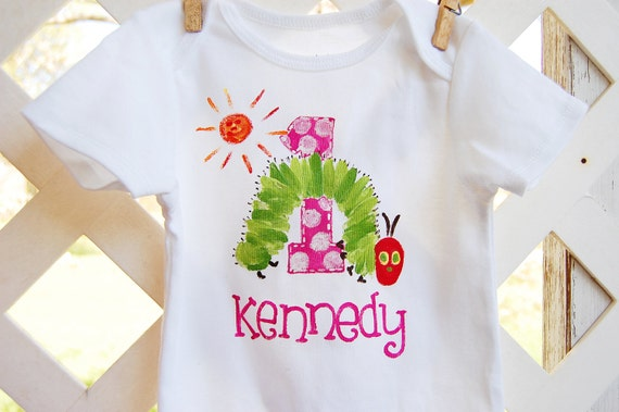 personalized birthday onesie or toddler shirt for boy or girl, short sleeved, matches The Very Hungry Caterpillar