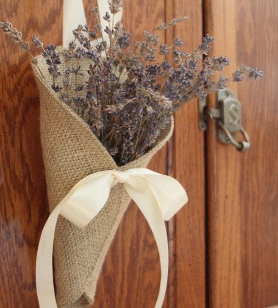 Khaki burlap pew cone / rustic wedding decor. Handmade by Nutfield Weaver.