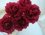 Wedding Crepe Paper Roses...Cranberry Burgundy Wine...7 ART DECO STYLIZED FLOWERS - FabricatedFamily