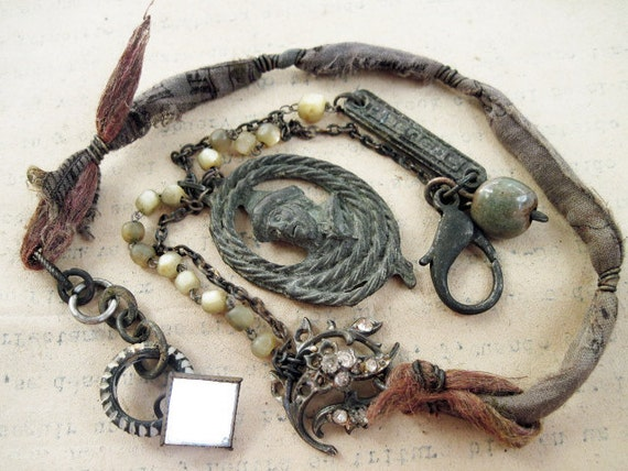 Salted Earth. Bohemian Tribal Necklace, Rustic Gypsy Assemblage.