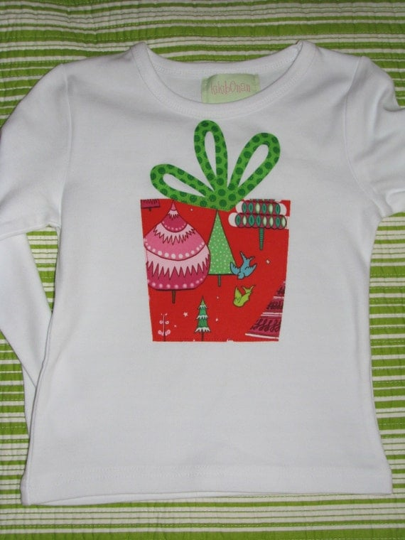 Candy Colored Christmas Present appliqued tee