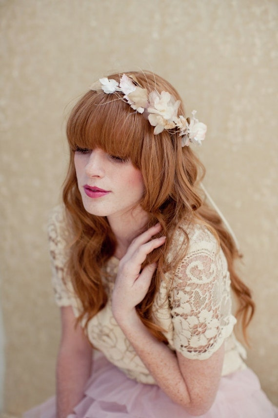Bridal Crown Flower Crown Tiara Head Wreath Wedding Headpiece Bridal Hair Piece Harmony Bridal Halo Made to Order Ships in 1 Month