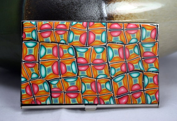Business card holder, Polymer clay covered business card holder, deluxe metal wallet, beautiful pattern top